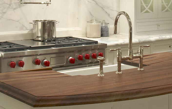 Wood Countertop with sink and drainboards