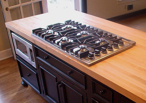Island Countertop With Stove : Wood Countertops with Stoves