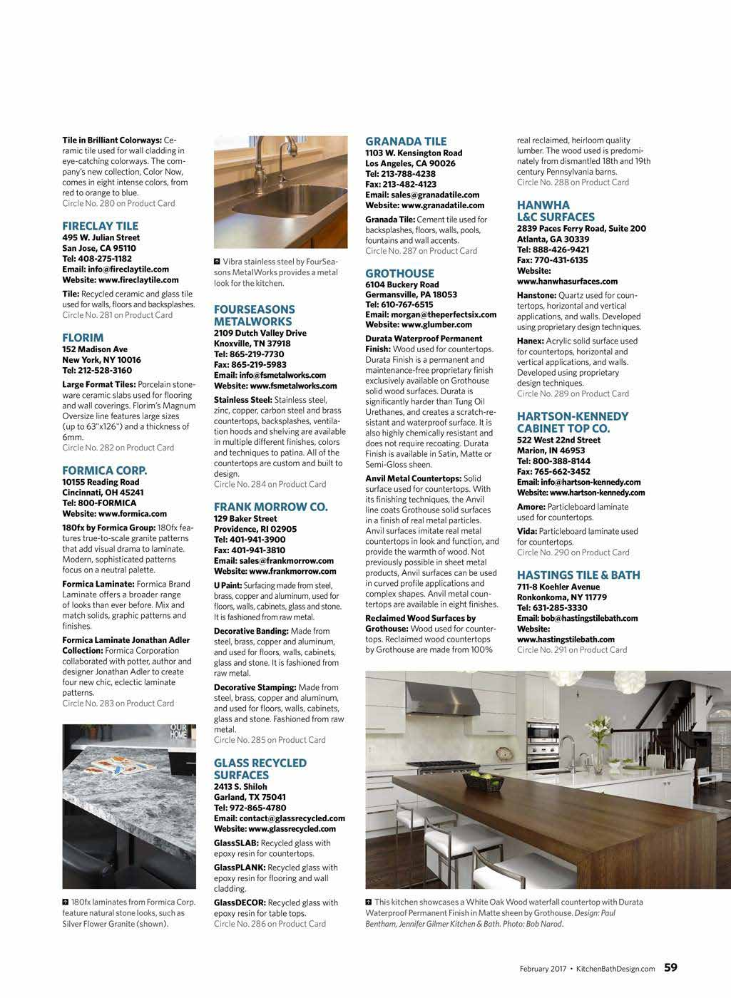 2017 Grothouse Articles | Wood & Block Countertops | Grothouse