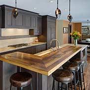 Custom Wood Reclaimed Chestnut Kitchen Bar Top in Kildeer, Illinois