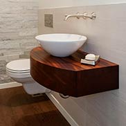 Custom Sapele Mahogany Bathroom Counter