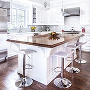 Custom Walnut Countertop with white cabinets in Madison, NJ