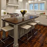 Custom Wenge Wood Kitchen Island Countertop for a transitional kitchen in Glen Ellyn, Illinois