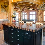 Custom Wenge and Cherry Checkerboard Butcher Block for a rustic kitchen island in Aurora, New York