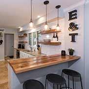Custom Reclaimed Oak Kitchen Bar Top in Columbus, Ohio
