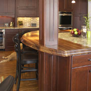 Walnut Countertop design by Auer Kitchens in Ohio