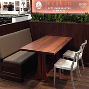 Photo of a Custom Walnut Wood Trestle Table in New York City
