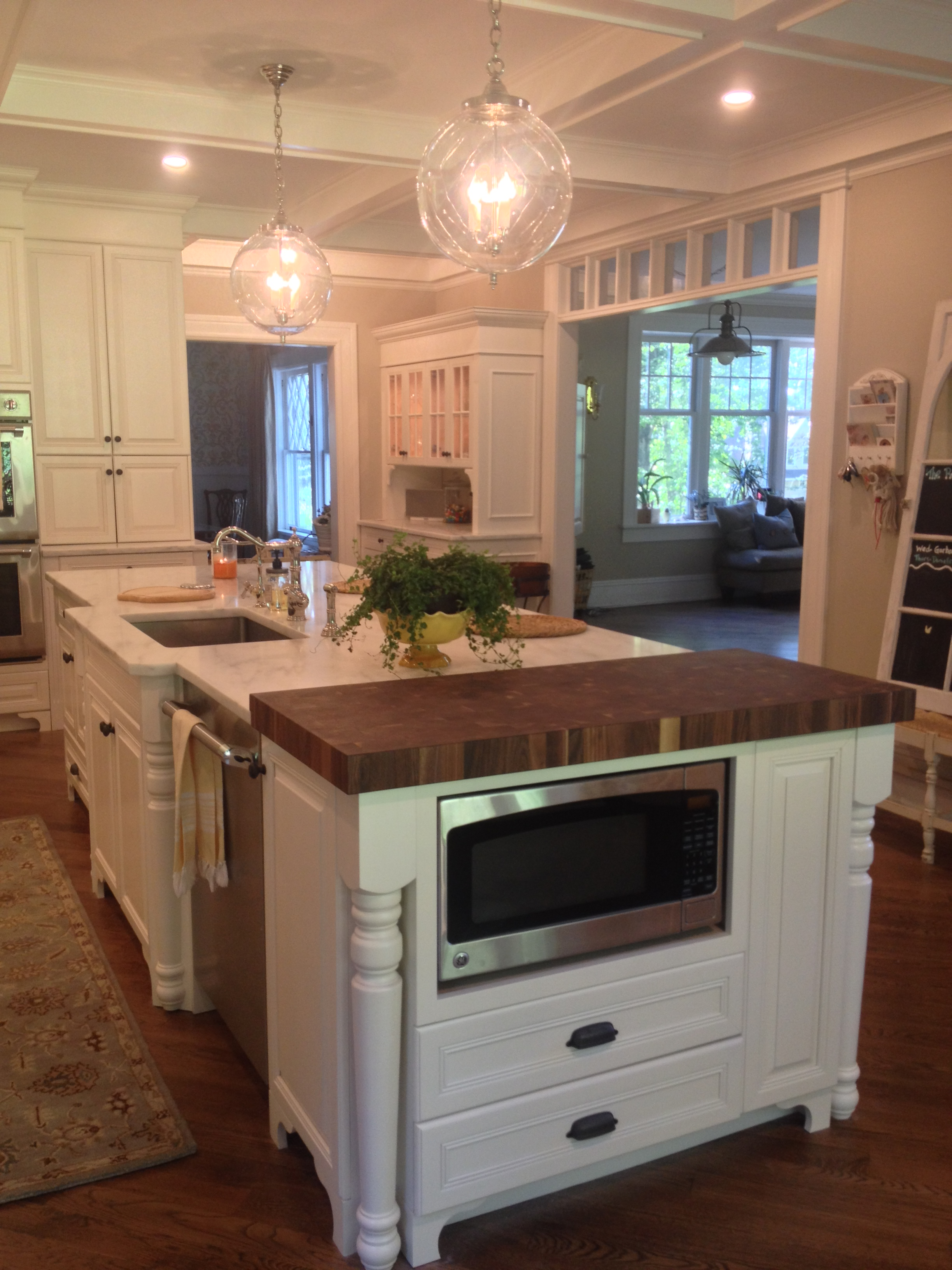 White Kitchen Island With Walnut Butcher Block Countertop : Butcher Block Countertops Reviews by Grothouse Customers