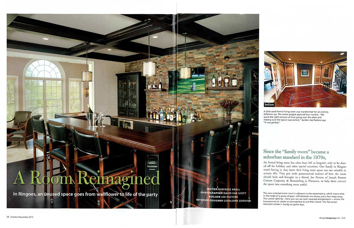 Residential Wood Bar Top in Design NJ Magazine