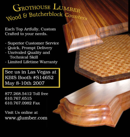 Grothouse Wood Surfaces Ad in Kitchen & Bath Design News