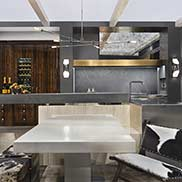 Metal Polished kitchen table base crafted by Grothouse for a contemporary design in Orlando, Florida