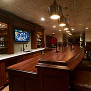 Custom Wood Stained Cherry Synthesis™ Bar Top in Fontana, Wisconsin