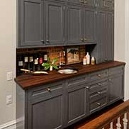 Peruvian Walnut Wood Bar Countertop for a Wet Bar Area in Chevy Chase Maryland