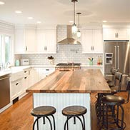 Reclaimed Chestnut Kitchen Island Counter for a modern farmhouse kitchen in Sea Cliff, NY