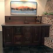 Custom Sapele Mahogany Bar Counter located in Fargo, North Dakota includes a Native Trails undermount sink