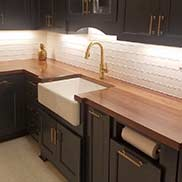 Walnut Wood Kitchen Counter for a transitional kitchen display in Granite Springs, New York