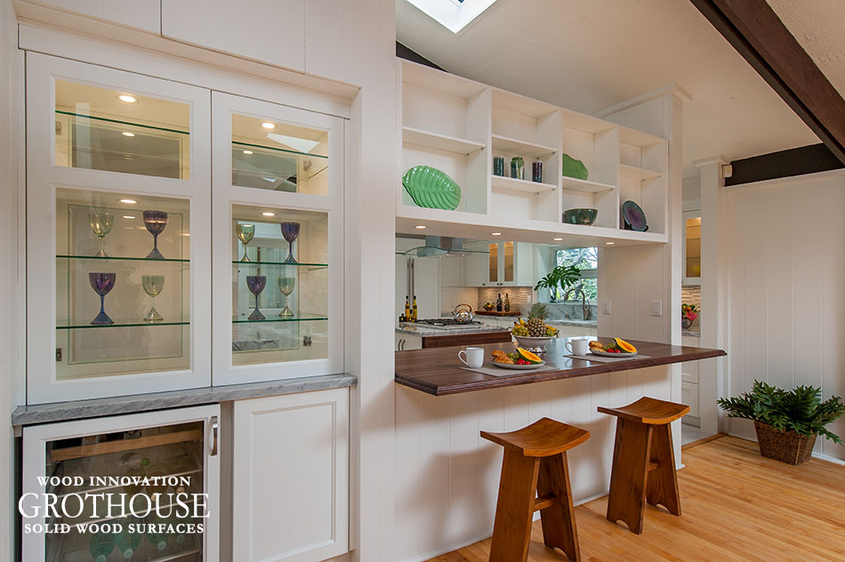 Walnut with Sapwood Kitchen Bar Top in a White Transitional Kitchen with White Cabinets in Hawaii