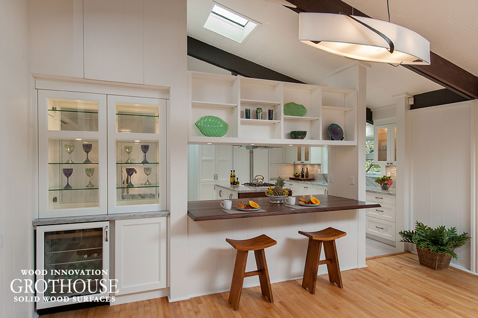 Transitional White Functional Kitchen Design with a Walnut with Sapwood Kitchen Bar Top in Kailua, Hawaii