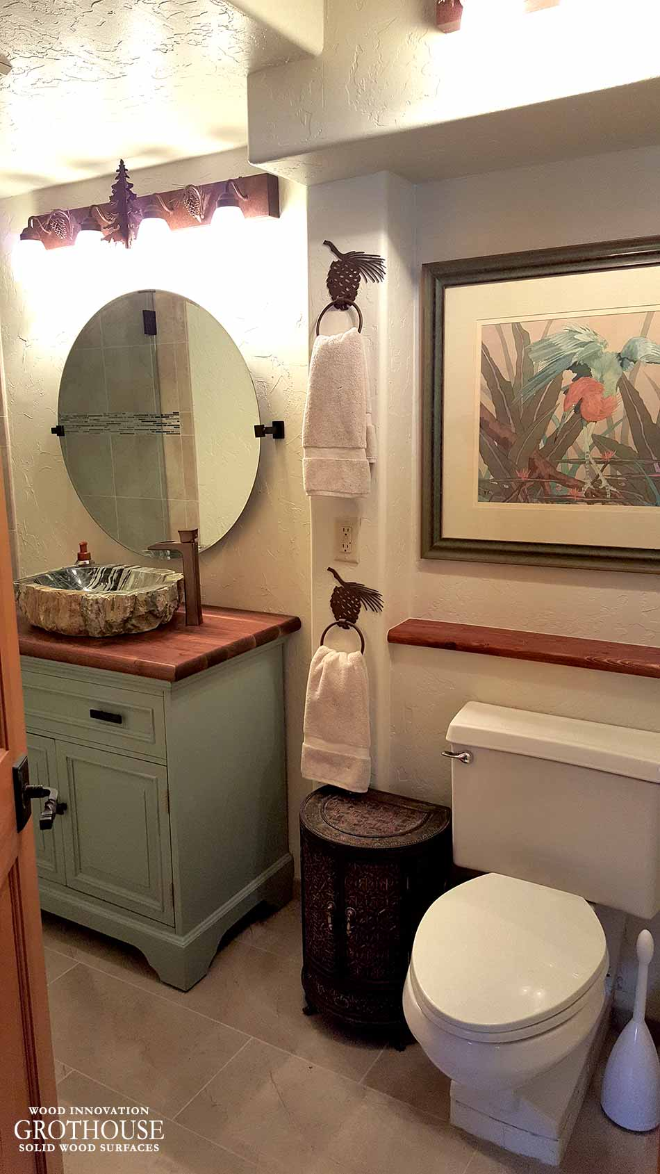 Warm, Traditional Bathroom design with a walnut with sapwood bathroom vanity top in Cudjoe Key, Florida