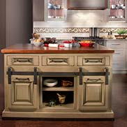 Kensington Wood Kitchen Island Countertop Designed by Kountry Kraft Cabinetry for their Showroom in Devon, PA