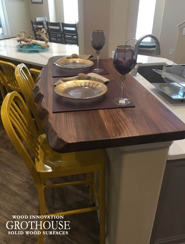 Walnut with Sapwood Faux Live Edge Bar Top in a Transitional Kitchen Design in Friendswood, Texas