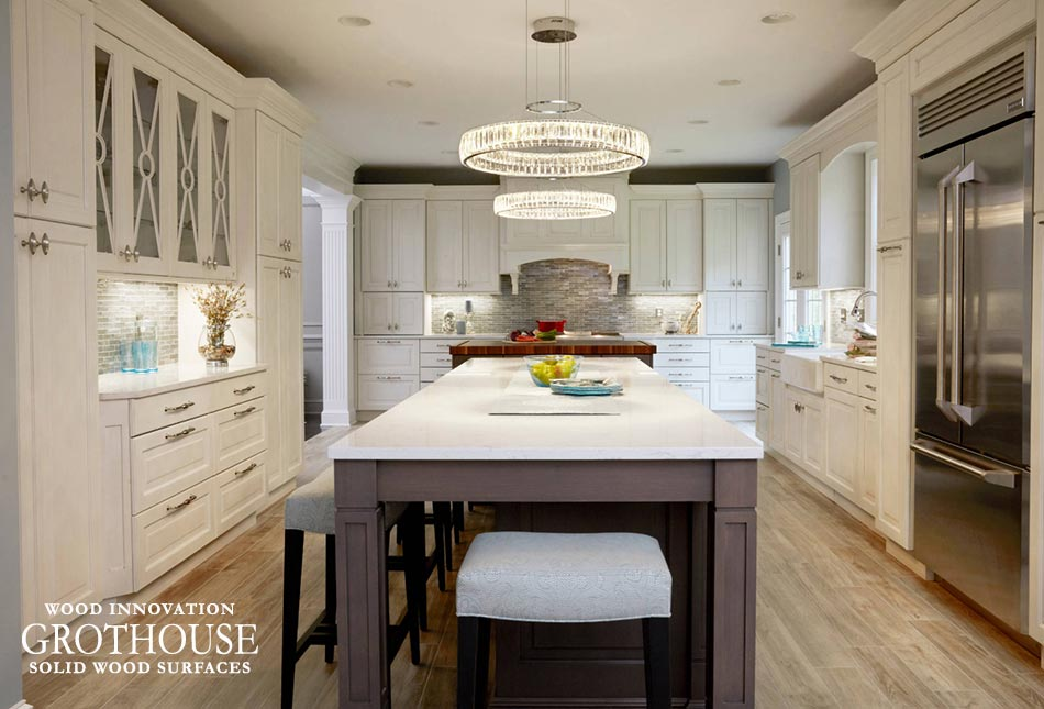 Walnut Checkerboard Island Countertop in Traditional Kitchen with White Perimeter Cabinetry in Crownsville, Maryland