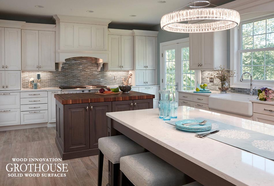 Traditional Kitchen Design with a Walnut Checkerboard Island Countertop on top of Dark Matte Twilight Cabinetry