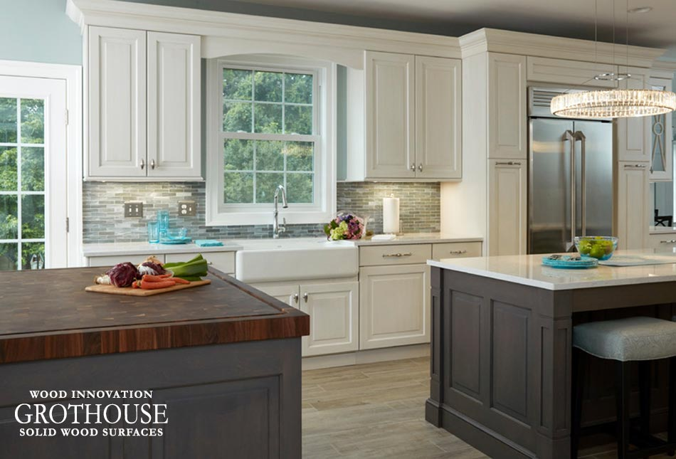 Walnut Checkerboard Island Countertop in a Traditional Kitchen with Dark and Light Cabinetry Located in Crownsville, Maryland