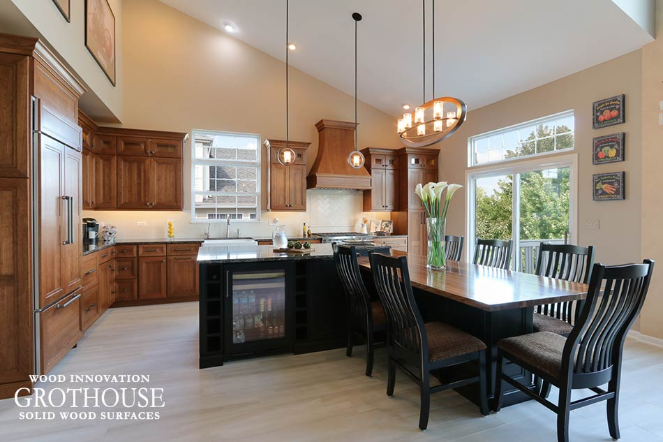 Cherry Cabinets with a Walnut Table Top in a Transitional Kitchen Design in Rolling Meadows, IL