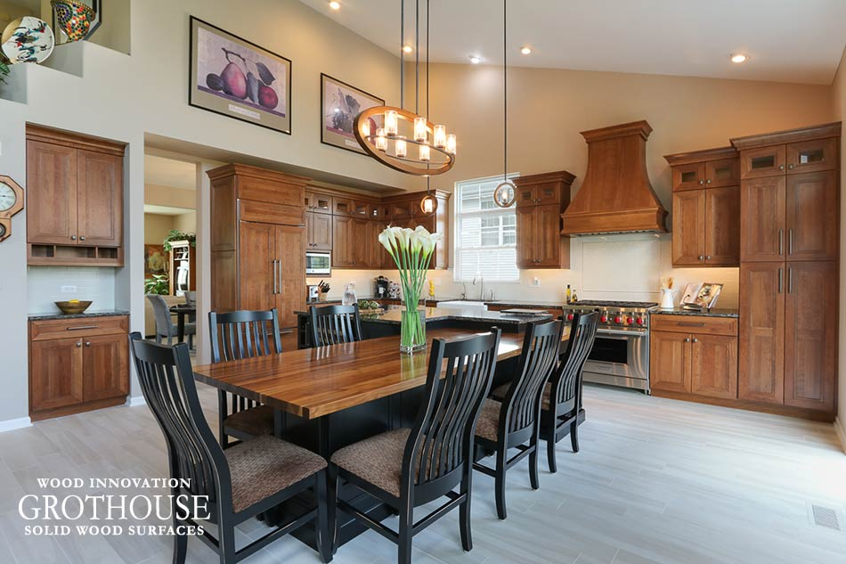 Walnut Table Top in a Transitional Kitchen Design with Perimeter Cherry Cabinets in Rolling Meadows, IL