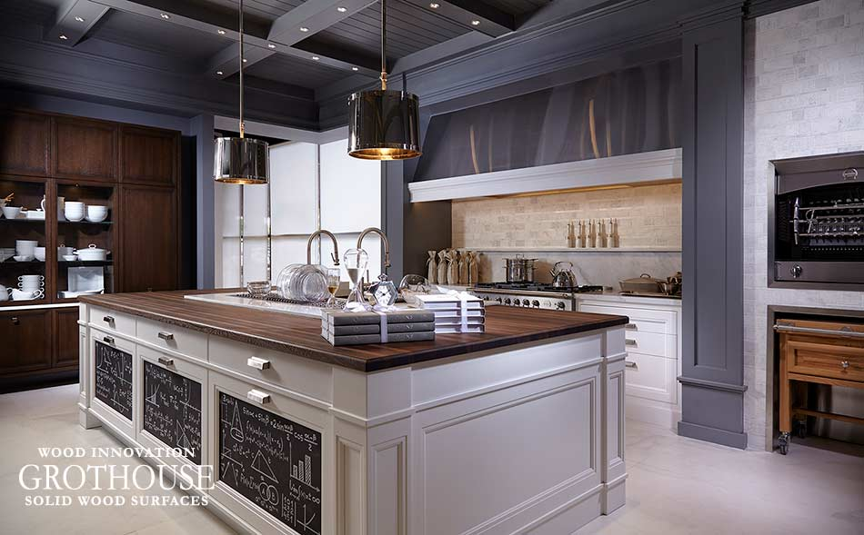 Transitional Kitchen with a Wenge Wood Island Countertop Crafted by Grothouse Inc. in Juno Beach, Florida