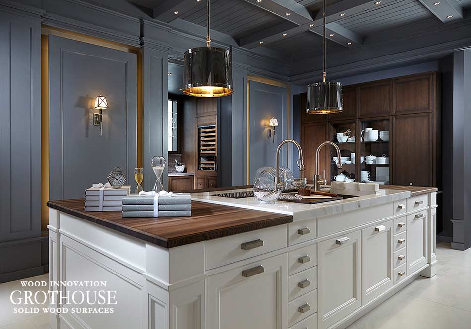 Transitional Kitchen with a Wenge Wood Island Countertop and White Cabinetry in Juno Beach, Florida