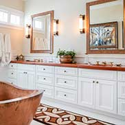 Tigerwood Vanity Countertop includes two undermount sinks in Lake Geneva, Wisconsin