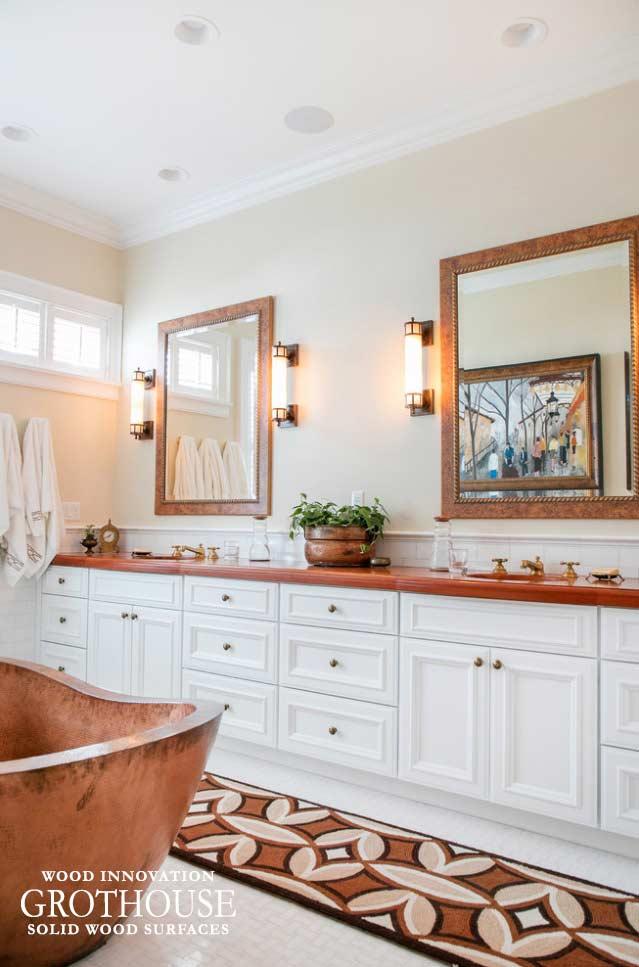 Tigerwood Vanity Countertop includes two undermount sinks in Lake Geneva, Wisconsin