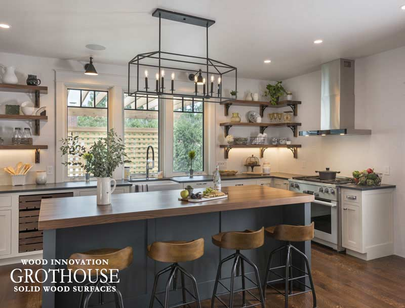 Walnut Kitchen Island Countertop for This Old House Idea House 2018 in Narragansett, Rhode Island