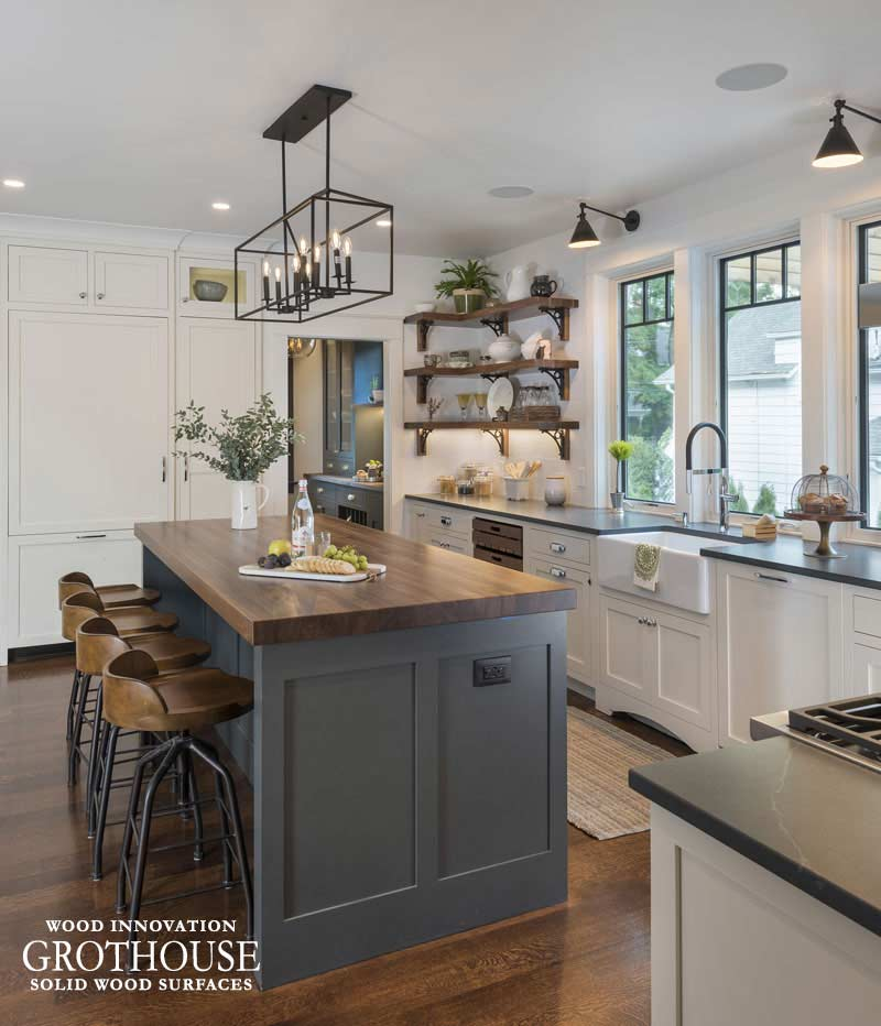 Walnut Kitchen Island Countertop with Matching Wood Shelves for This Old House Idea House 2018