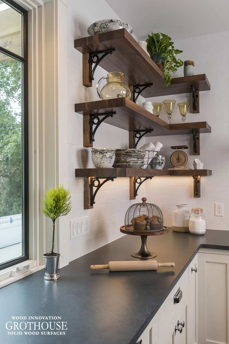 Walnut Wood Floating Shelves that match kitchen island countertop for This Old House Idea House 2018