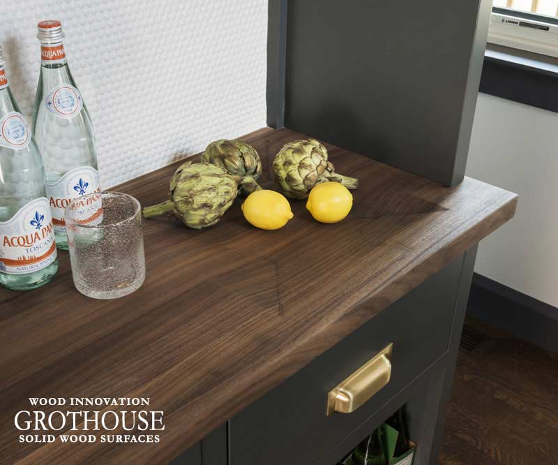 Walnut Pantry Countertop with an Integrated Bowl for Fruit in Narragansett, Rhode Island