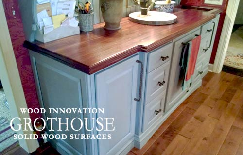 Custom Blue Hutch with Distressed Sapele Mahogany Countertop in a Traditional Kitchen Design in Ohio