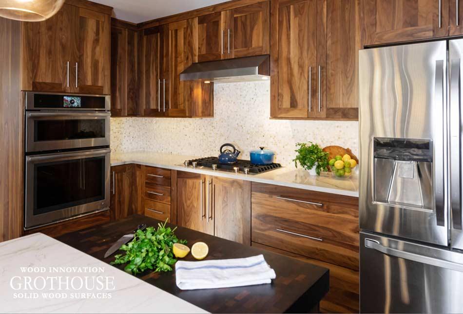 Random Mix Wenge Butcher Block Countertop for a Kitchen Island in Philadelphia, Pennsylvania
