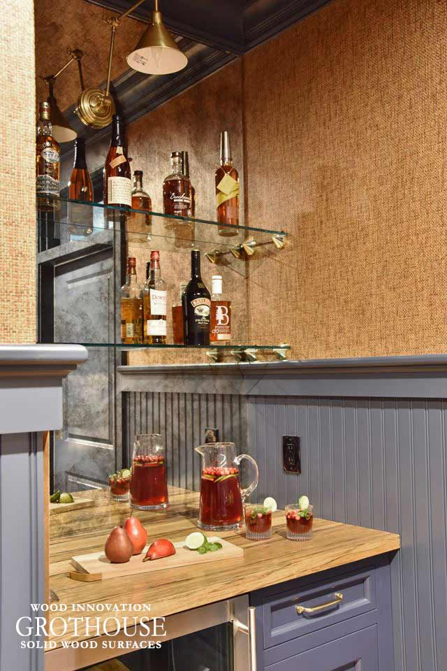 Saxon™ Wood Mini Bar Top for Design by Kate Connolly of Homestead Kitchens in Littleton MA