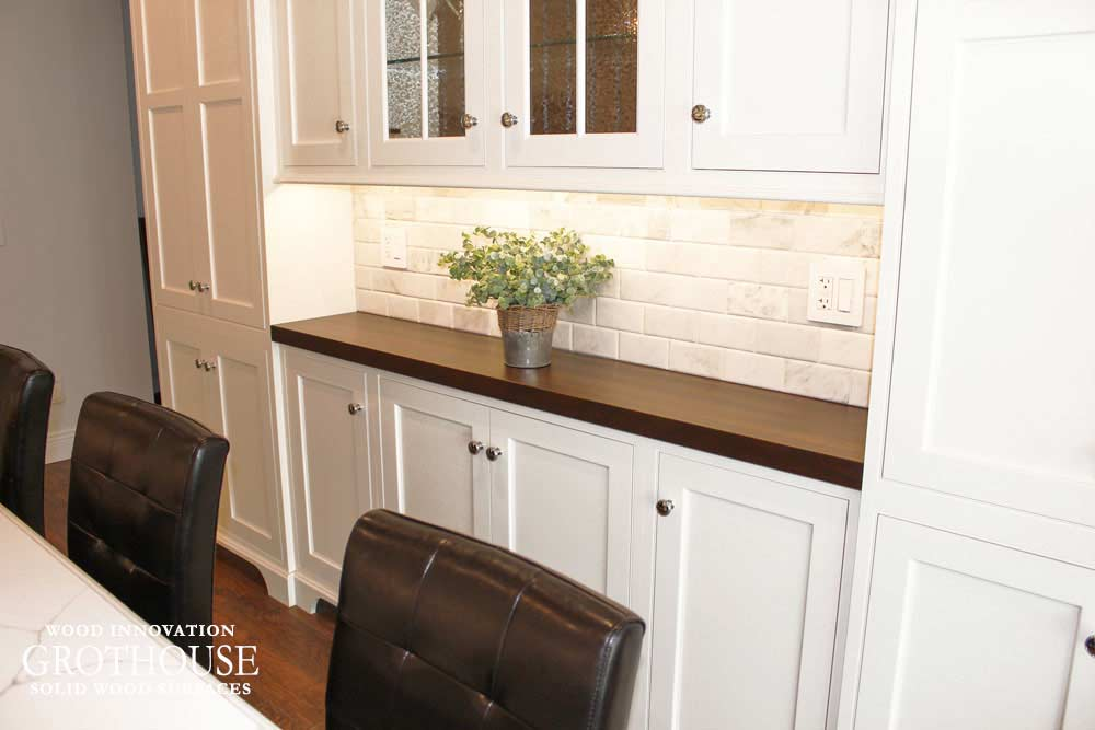 Stained Walnut Wood Countertop for a white traditional kitchen bar in Oyster Bay, New York