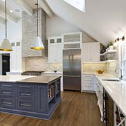 Metal Kitchen Island Countertop for a Transitional Kitchen Design with Navy Blue Cabinetry in Pittsburgh, Pennsylvania