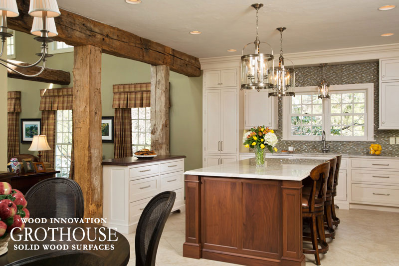 Walnut Sapwood Kitchen Countertop in a Traditional Kitchen Design with a Large Kitchen Island with Seating