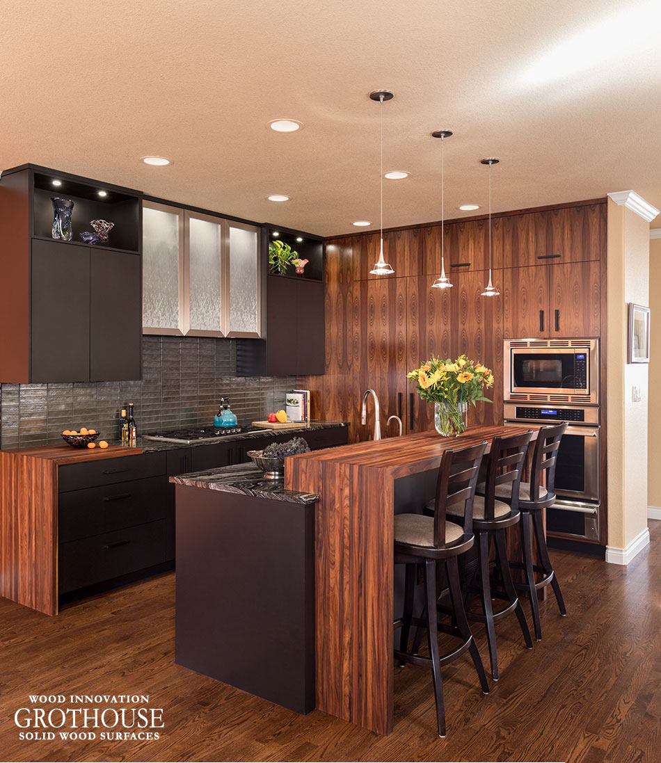 Bolivian Rosewood Countertops in a Contemporary Kitchen Design with Brown Cabinetry Located in Denver, Colorado