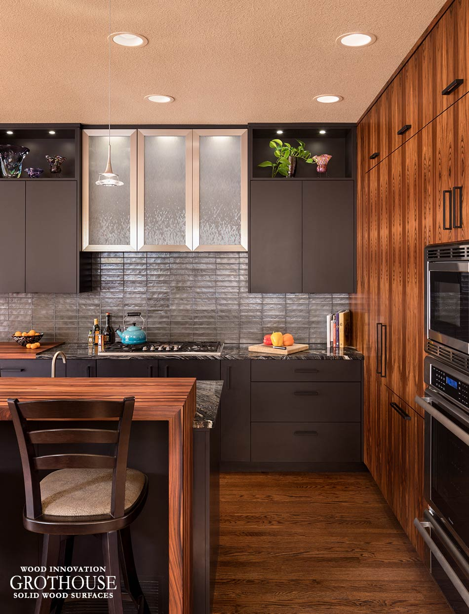 Bolivian Rosewood Countertops in a Contemporary Kitchen Design with Brown Kitchen Cabinetry in Denver, Colorado