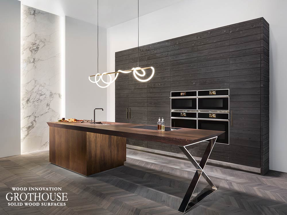 Wenge Wood Countertop with Monogram cooktop and an undermount sink for KBIS 2019 in Las Vegas