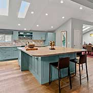 Ash Wood Kitchen Island designed by jillian clark of kitchen studio of Monterey peninsula in California