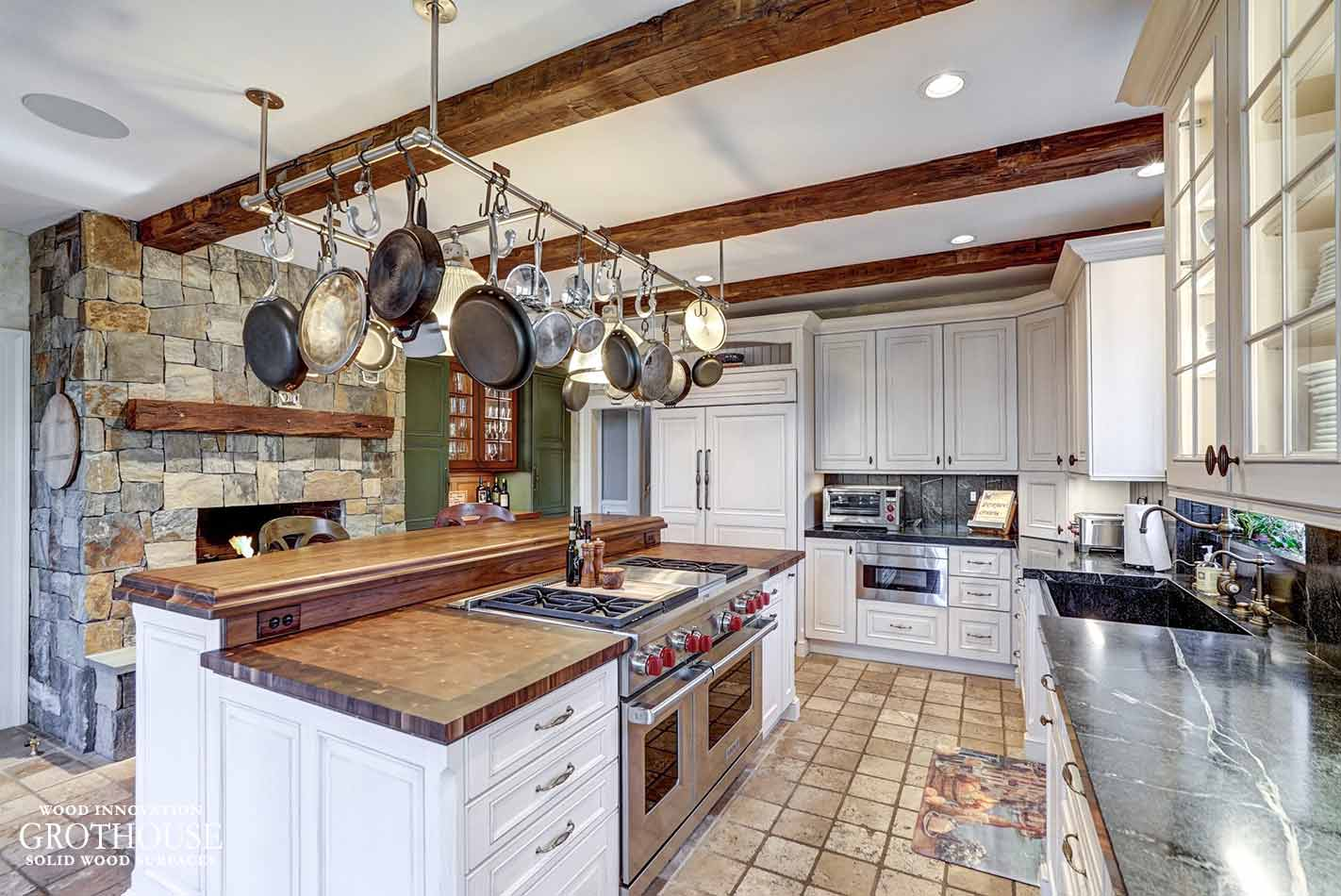 Mixed Cherry Butcher Block with White Cabinetry in a kitchen designed by classic kitchens of Virginia