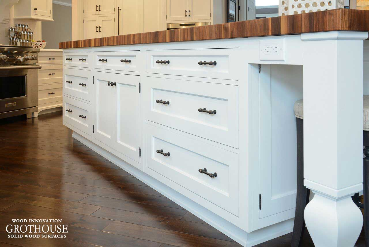 125 Inch Butcher Block Countertop with White Cabinetry in a Traditional Kitchen Design in Independence, Ohio